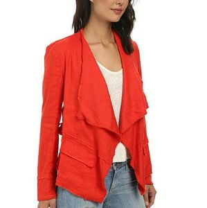 Free People Red Drapey Linen Jacket Sz Small NWT